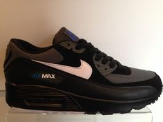 Nike Air Max 90 Black White Blue Trainers Footwear Priced To Clear In Box  Tags fbe86913fe