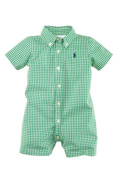 Ralph Lauren Gingham Romper (Infant) if I have a boy, this is the FIRST thing Ill buy.