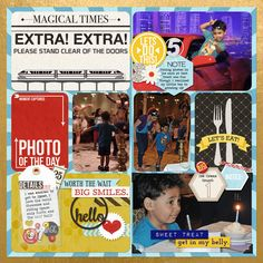 """""""May Disney Trip - Day 5 (Epcot)"""" Page 1 Template: Becky Higgins Project Life Template A (x2) Kit: Various Project Mouse items by Sahlin Studio"""
