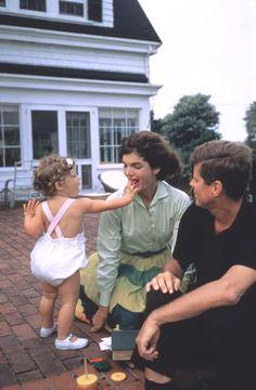 John F., Jacqueline and Caroline Kennedy