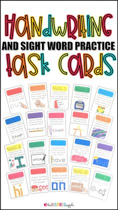 This is a set of 20 task cards to use with handwriting, sight words, or spelling words practice. Each colorful task card provides students with a task to complete to reinforce proficiency in reading and writing the words they are practicing. They are perf