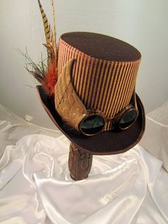 Steampunk Hat- Men's Brown Topper with Brown Aviator Goggles with wings & Clock Parts-top hat