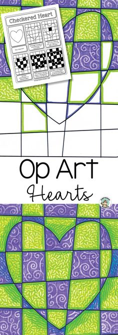 Create a show-stopping Valentine's Day art display with this Op Art Hearts art lesson!