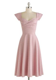 Pine All Mine Dress in Pink Plaid by Stop Staring! - Long, Pink, Solid, Wedding, A-line, Cap Sleeves, Sweetheart, Party, Vintage Inspired, 50s