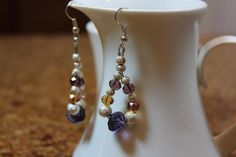Purple Crystal and Silver Stardust Earrings