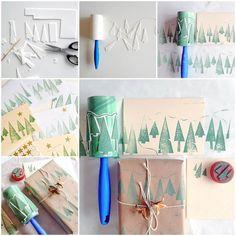 DIY Christmas Tree Roller Stamp Using Lint Roller