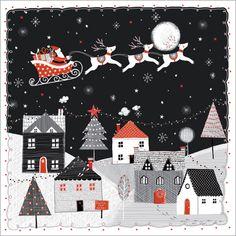 Night Flight Christmas card - sleigh bells ring, are you listening? www.helenguyatt.co.uk