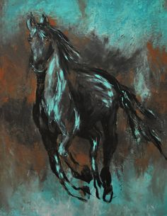 Abstract Contemporary Black Western Horse Art in turquoise and black beautiful modern print Cowboy Western art on Etsy, $25.00