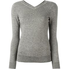 Isabel Marant Étoile - Kira jumper - women - Cotton/Wool - 36 ($175) ❤ liked on Polyvore featuring tops, sweaters, grey, grey sweater, long gray sweater, long grey sweater, gray sweater and v neck sweater