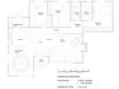 Plano constructivo de vivienda de 152 m2