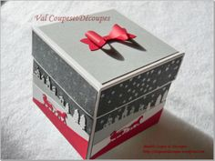 xplosion_box_coupesetdecoupes_20151206_2 Stampin Up Christmas, Christmas Cards, Christmas Boxes, Xmas, Boite Explosive, Exploding Gift Box, Diy Cadeau Noel, Surprise Box, Jingle All The Way