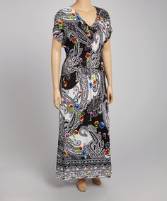 Look what I found on #zulily! Black & White Floral Paisley V-Neck Maxi Dress - Plus by Just Love #zulilyfinds