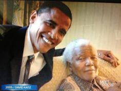 2005 Barack Obama meets Nelson Mandela for the first time,
