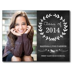 Laurel Graduation Party Invitation Postcard Chalkboard / Black / Elegant / Trendy