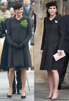 hrhduchesskate: Duchess of Cambridge in Catherine Walker coatdress and Lock & Co 'Betty Boop' hat-March 2015 (pregnant with Princess Charlotte), April 2018