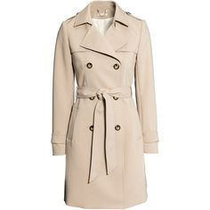 H&M Trenchcoat (1.300 UYU) ❤ liked on Polyvore featuring outerwear, coats, jackets, h&m, light beige, pink coats, trench coat, fur-lined coats, lined trench coat and beige trench coat