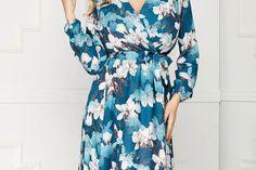 Rochie StarShinerS turcoaz office midi in clos din tesatura georgette cu imprimeuri florale si accesorizata cu cordon Dresses With Sleeves, Long Sleeve, Floral, Fashion, Dress, Moda, Sleeve Dresses, Long Dress Patterns, Fashion Styles