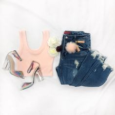 Get your flirt on!   So Necessary Basic Tank  Perla Block Heel Sandals  Be A-Frayed Distressed Jeans  All Faux It Pom Pom