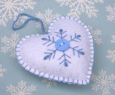 Felt Christmas Ornament Scandinavian Heart by PuffinPatchwork, $8.00