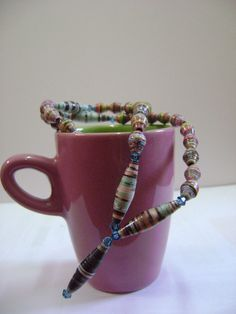 Simple and elegant necklace design - Upcycled Paper Bead Necklace Colourful Beads by NightLightCrafts, $30.00