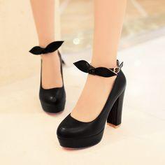 Korean fashion sweet bow high-heeled shoes