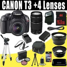 Canon EOS Rebel T3 12.2 MP CMOS Digital SLR Camera with EF-S 18-55mm f/3.5-5.6 IS II Zoom Lens & EF 75-300mm f/4-5.6 III Telephoto Zoom Lens + LPE10 Battery & Charger + Wide Angle Lens + Telephoto Lens + 16GB Deluxe Accessory Kit by DavisMAX. $640.61. Supplied manufacturer accessories:LP-E10 Lithium-Ion Battery Pack, LC-E10 Battery Charger, Wide Strap EW-200DB, AVC-DC400ST Stereo AV Cable, EOS Digital Solution Disk, Software Instruction Manual CD, Camera Instruction Manual...
