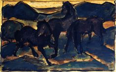 Expressionismus in Deutschland, Franz Marc, Horses at Pasture I, 1910