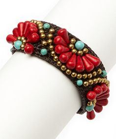 Another great find on #zulily! Coral & Turquoise Half-Flower Adjustable Bracelet by PANNEE JEWELRY #zulilyfinds