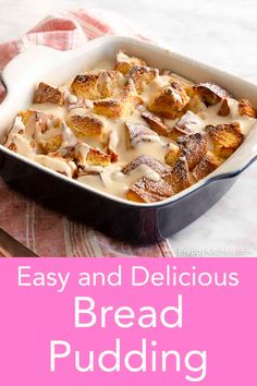 This amazing bread pudding is perfectly sweet with a wonderfully soft texture inside, a crisp top paired, and a delicious traditional pudding sauce. It is perfect for your Easter celebrations! #easter #breadpudding Desserts For A Crowd, Easy Desserts, Delicious Desserts, Yummy Food, Brunch Recipes, Dessert Recipes, Breakfast Recipes, Cinnamon Recipes, Bread Recipes
