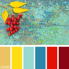 Color Palette: Gold, Turquoise and Red. If you like our color inspiration sign… Color Schemes Colour Palettes, Red Colour Palette, Living Room Color Schemes, Kitchen Color Schemes, Bright Color Schemes, Color Red, Mellow Yellow, Mustard Yellow, Yellow Red Blue