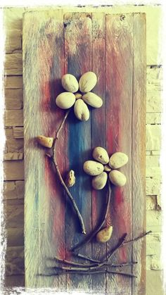 Stone flowers on wood by new life -art
