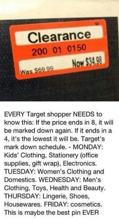 Target clearance prices