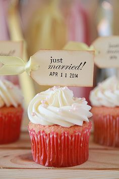 Just Married, Cupcake toppers, Rustic, Wedding, Shabby Chic, food toppers, Wedding Date toppers on Etsy, $9.00