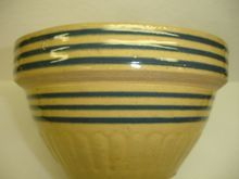 Yellow Ware Bowl with Blue Band Decoration