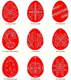 Egg patterns from Gyimes - Hungarian folk art motifs Easter Arts And Crafts, Egg Crafts, Eastern Eggs, Egg Template, Polish Easter, Easter Egg Pattern, Carved Eggs, Easter Egg Designs, Ukrainian Easter Eggs
