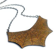 LOVE THIS: Halloween Black and Gold Spider Web Necklace  - Step into My Parlor - Metallic