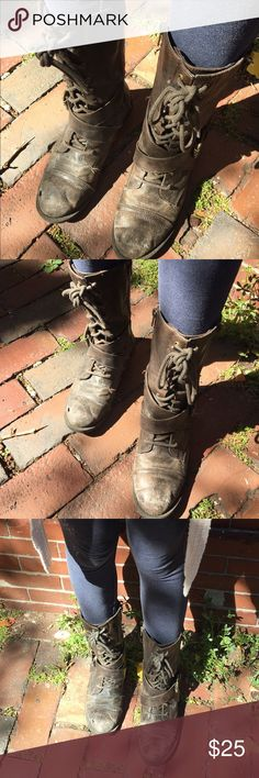 Vegan Combat Boots These brown, used combat boots are a women's size 6.5. They are lace-ups and have zippers up both sides. They are a faux leather material and are well-worn at the toes. They are SUPER comfy! Made by Diba  Diba Shoes Combat & Moto Boots