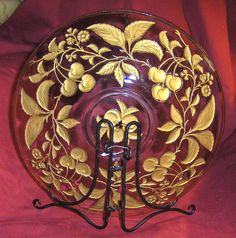 Goofus Glass | Large Elegant Gold and Red Cherries Goofus Glass Plate
