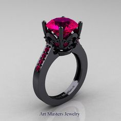 Classic 14K Black Gold 3.0 Carat Rose Ruby Solitaire by artmasters