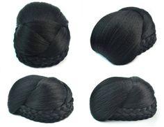 Q48  Synthetic elastic bride hair bun hair color of 1B fake hair bun pieces