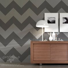 Chevron Zig Zag Pattern Wallpaper Wall Decal Seamless Pattern Wall Sticker Wall Panel ( Large )