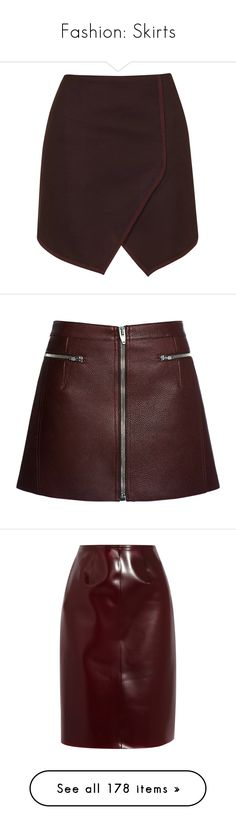 """Fashion: Skirts"" by katiasitems on Polyvore featuring skirts, mini skirts, bottoms, topshop, saias, burgundy, short red skirt, high-waist skirt, burgundy mini skirt and short wrap skirt"