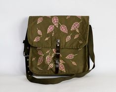 Vintage Army Green Bag with Hand-painted Leaves in Gold and Pink