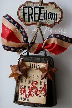 Patriotic vintage cowbell ~ let FREEdom rind Americana Crafts, Patriotic Crafts, Patriotic Party, July Crafts, Patriotic Decorations, Holiday Crafts, Holiday Fun, Primitive Crafts, 4th Of July Celebration
