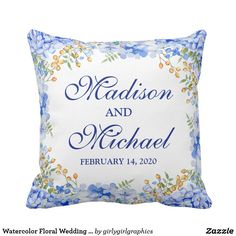 Watercolor Floral Wedding Modern Throw Pillow
