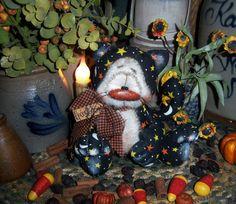 """Primitive Halloween Black Witch Star Cat Fall 6"""" Doll Vtg Patti's Ratties Bear"""
