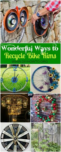 Collection of DIY Ways to Recycle Bike Rims Ideas & Instructions: Re-purpose Bike Wheels and Rims into Home and Garden Decoration, Wreath, Garden Art, Trellis, Chandelier and More via @diyhowto