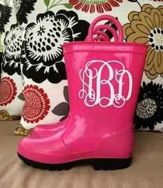 Kids Rain Boot Monogram Decal Vinyl Sticker Do It Yourself DIY-- Free Shipping by customvinylbydesign on Etsy