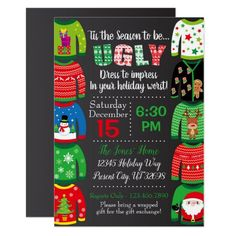 Ugly Sweater Party Invitation - Christmas Party Office Christmas Party, Christmas Party Games, Xmas Party, Holiday Parties, Christmas Holidays, Christmas Ideas, Family Christmas, Christmas Ships, Christmas Neighbor