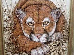 Woodburning Pyrography Mountain Lion Puma by ADragonflysFancy, $75.00